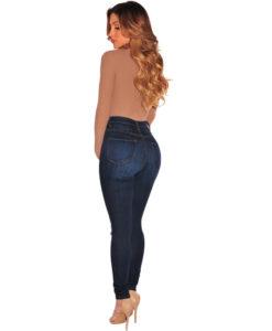 Jean Push Up Taille Haute effet Minceur Trous aux Genoux - Latina Mode - 5