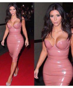 robe moulante vinyle bustier plongeant Kim-Kardashian - Latina Mode