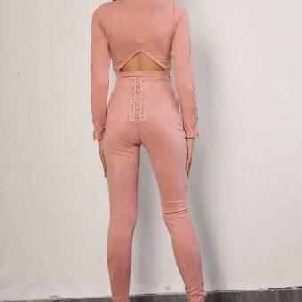 ensemble suedine sexy 2 pièces à lacets - Latina Mode - 2