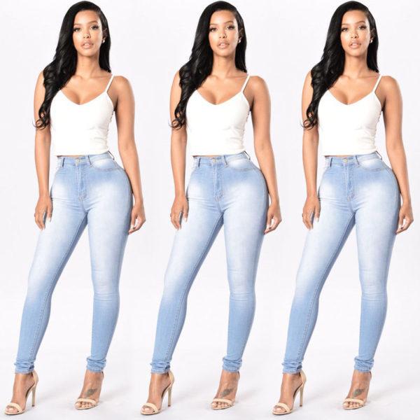 jean sculptant skinny slim bleu clair used- 2 - Latina Mode
