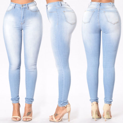 jean sculptant skinny slim bleu clair used- 3 - Latina Mode