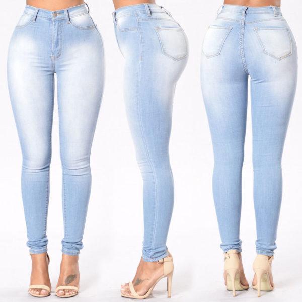 jean sculptant skinny slim bleu clair used- 3 - Latina Mode