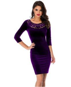 robe moulante en velours col creux sexy - 1 - Latina Mode