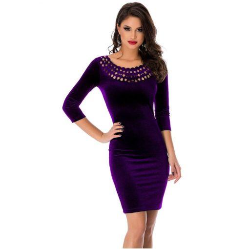 robe moulante en velours col creux sexy - 1 - Latina Mode