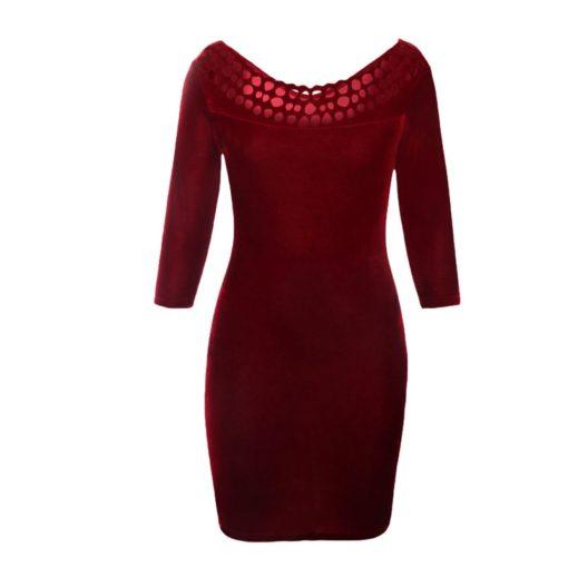 robe moulante en velours col creux sexy - 11 - Latina Mode