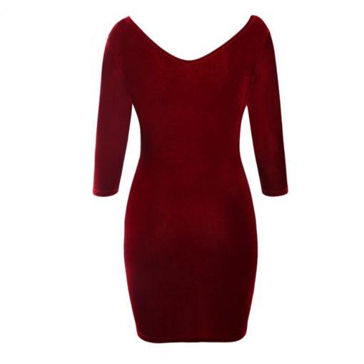 robe moulante en velours col creux sexy - 12 - Latina Mode