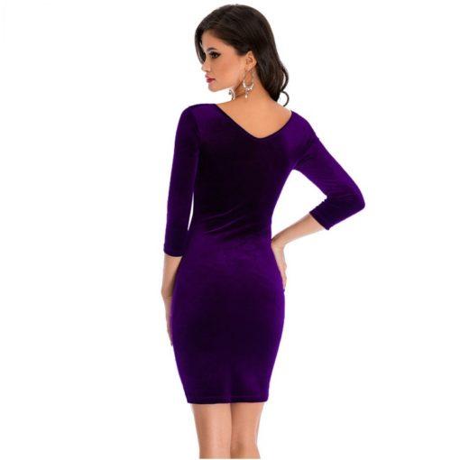 robe moulante en velours col creux sexy - 2 - Latina Mode
