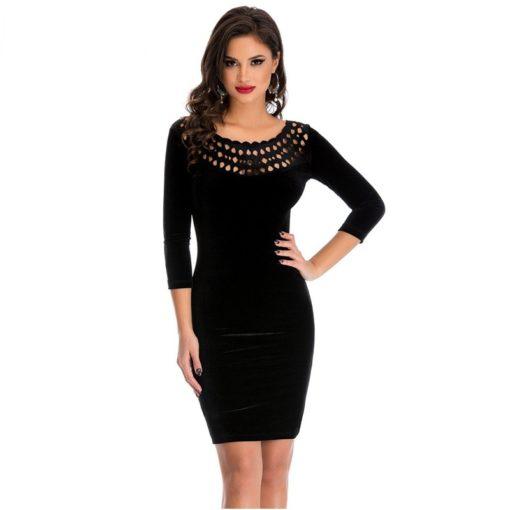 robe moulante en velours col creux sexy - 3 - Latina Mode