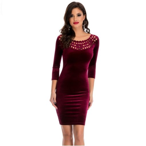 robe moulante en velours col creux sexy - 5 - Latina Mode