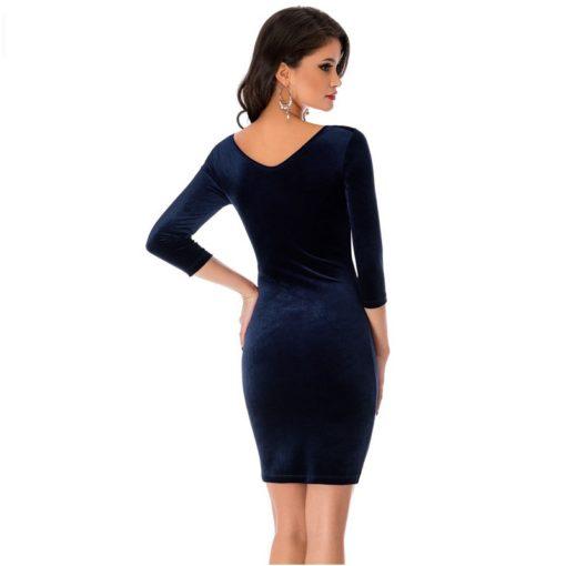robe moulante en velours col creux sexy - 8 - Latina Mode