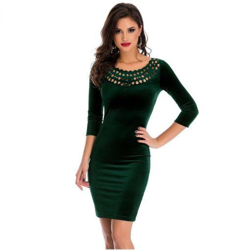 robe moulante en velours col creux sexy - 9 - Latina Mode