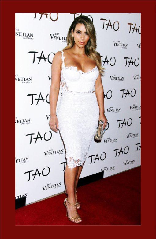 11 - Sexy Ensemble Blanc en Dentelle Top + Jupe Taille Haute Kim Kardashian - Latina Mode