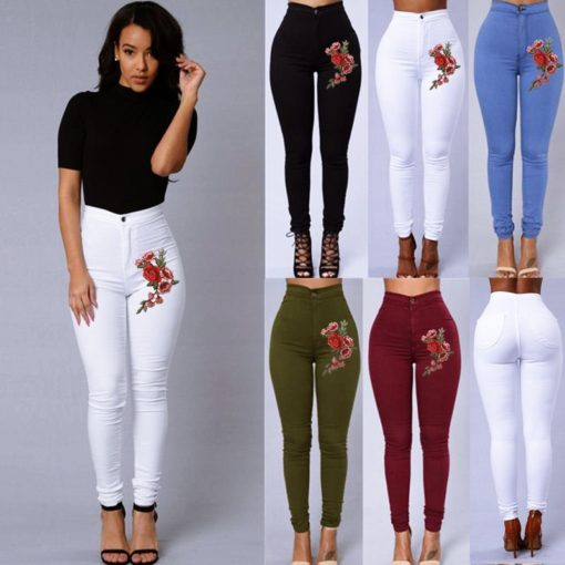 1 - Jean Sculptant coupe Skinny Taille Haute Broderie florale - Latina Mode