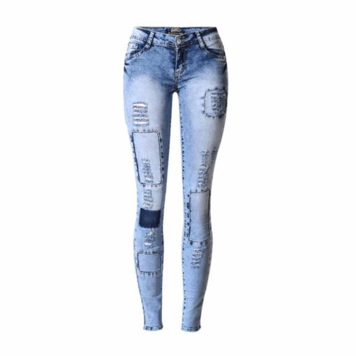 1 - Jean Sexy Stretch Patchwork effet Used Coupe Skinny - Latina Mode