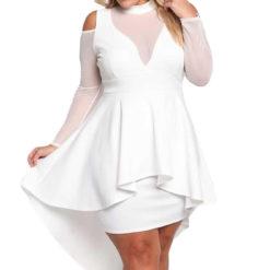 1 - Robe Décolletée Manches Transparantes épaules nues - Latina Mode
