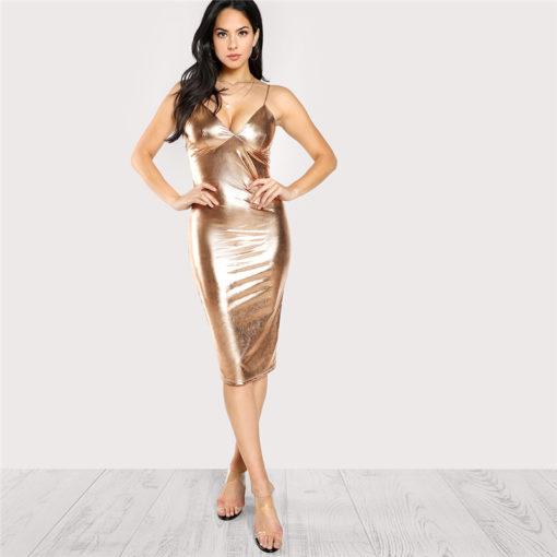 1 - Robe Sexy Col V Plongeant Tissu Métallique - Latina Mode