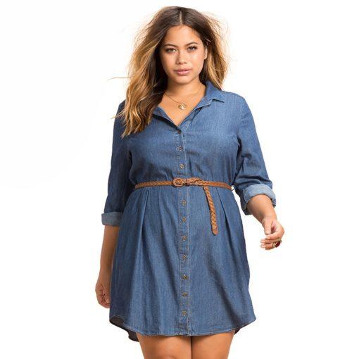 1 - Robe chemise en dénim ceinturée style décontracté - latina mode