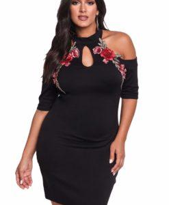 1 - Robe moulante noire applique rose brodée - Latina Mode