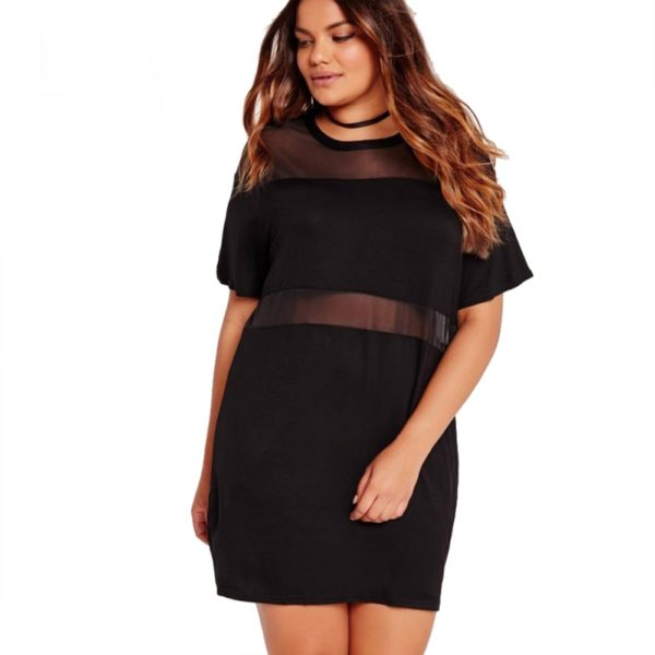 1 - Robe noire maille transparente effet patchwork - Latina Mode