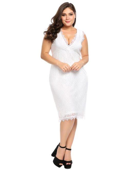 2 - Robe chic en dentelle col V sans manches - Latina Mode