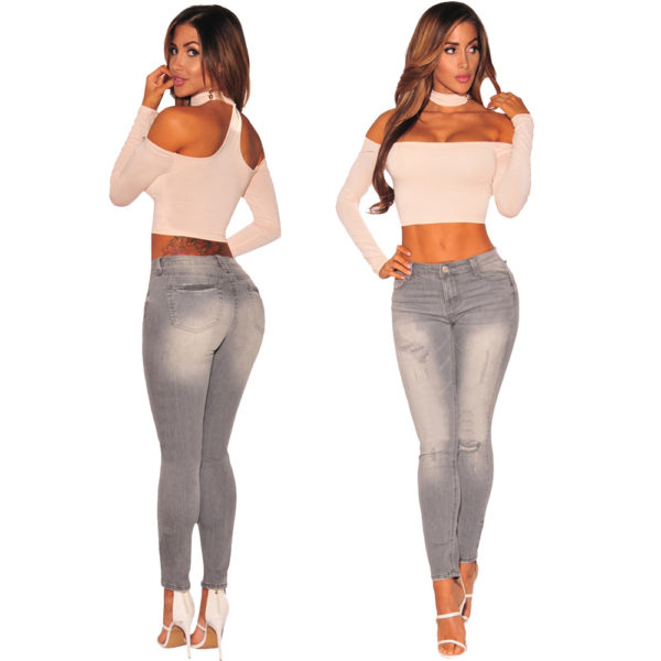 3 - Jean Push Up Gris effet used High waist - Latina Mode