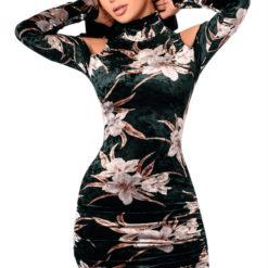3 - Robe Moulante Velours Imprimé Floral epaules dénudées - Latina Mode