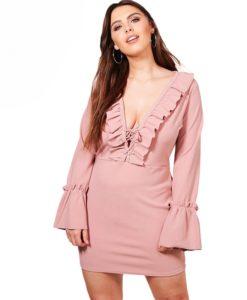 1 - robe vintage manches volantées col V plongeant - Latina Mode