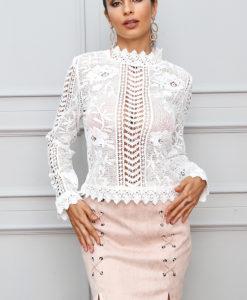 1 - Top Chic Creux en Dentelle Manches Longues - Latina Mode