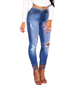 7.1- Jean SEXY Taille Haute délavé style used - Latina Mode