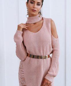 1- Robe Pull en tricot avec Col Roulé - Latina Mode
