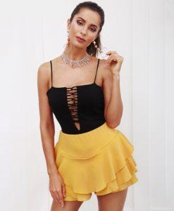 11- Jupe-Short Courte à Volants Taille Haute - Latina Mode