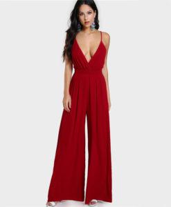 1- Combinaison Sexy Évasée Décolleté Plongeant-rouge - Latina Mode