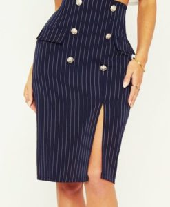 5- Jupe MOULANTE Taille Haute Fendue à rayures - Latina Mode