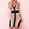1- Robe Moulante Color-Block Bretelles Croisées - Latina Mode