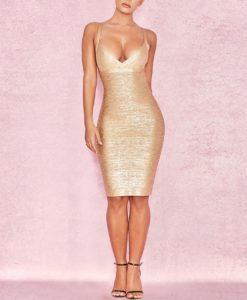 3- Robe Moulante Dorée Décolleté Effet Bustier - Latina Mode