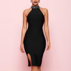 4- Robe Sexy Col Montant Bijoux - Latina Mode