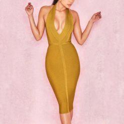 4- Robe Sexy Jaune Col V profond sans manches - Latina Mode