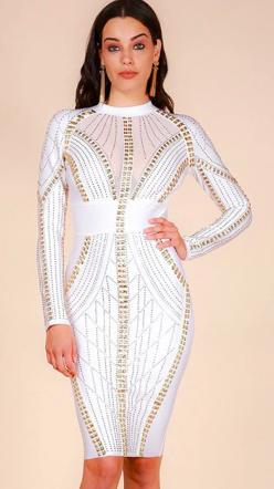 1_Robe Moulante Blanche Détails Dorées - Latina Mode